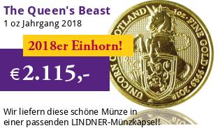 The Queen's Beast - Einhorn von Schottland 1 oz 2018