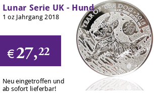 Großbritannien Lunar Serie Silber 1 oz 2018 Hund Dog