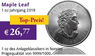 Maple Leaf Silber 1 oz 2018