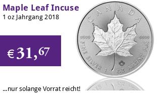 1 oz Silber Maple Leaf 2018 Incuse