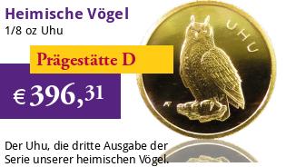 Heimische Vögel Goldeuro 1/8 oz 2018 D - Uhu