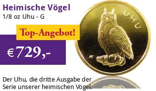 Heimische Vögel Goldeuro 1/8 oz 2018 G - Uhu