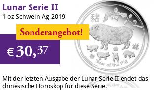 Lunar Serie II 1 oz 2019 Schwein Silber