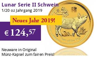 Lunar Serie II 1/20 oz 2019 Schwein Gold