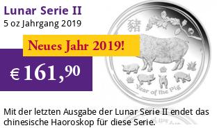 Lunar Serie II 5 oz 2019 Schwein Silber