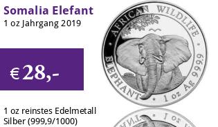 1 oz Somalia Elefant 2019 African Wildlife
