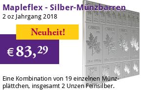 Mapleflex Münzbarren 2 oz 2018