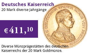 20 Mark Goldmünze Deutsches Kaiserreich, diverse Jahrgänge