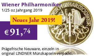Wiener Philharmoniker Gold 1/25 oz 2019