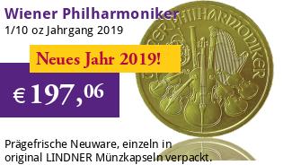 Wiener Philharmoniker Gold 1/10 oz 2019