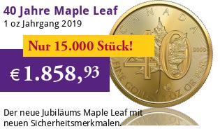 40 Jahre Maple Leaf Gold 1 oz 2019 Jubiläumsausgabe