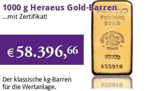 Heraeus Gold-Barren 1000 g LBMA zertifiziert