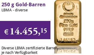 Gold-Barren 250 g LBMA-zertifiziert
