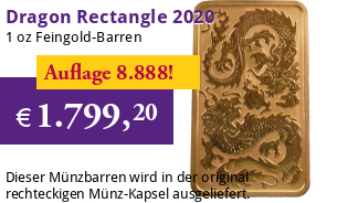 1 oz Gold Motiv-Barren 2020 Drache Perth Mint Rectangle