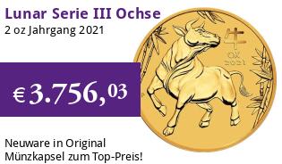 Gold Lunar Serie III 2 oz 2021 Ochse