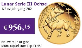 Gold Lunar Serie III 1/2 oz 2021 Ochse