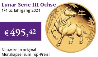 Gold Lunar Serie III 1/4 oz 2021 Ochse