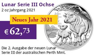 Silber Lunar Serie III 2 oz 2021 Ochse