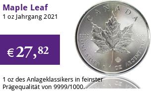 Maple Leaf Silber 1 oz 2021