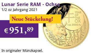 Lunar Serie RAM 1/2 oz Gold 2021 Ochse Ox