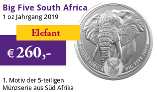Big Five Elefant 1 oz Silber 2019 im Blister (1. Motiv)