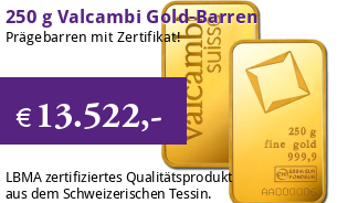 Valcambi Goldbarren 250 g eingeschwei�t mit Zertifikat