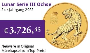 Gold Lunar Serie III 2 oz 2022 Tiger