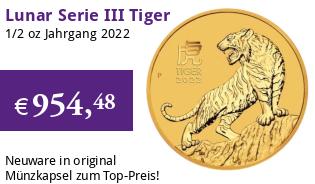 Gold Lunar Serie III 1/2 oz 2022 Tiger