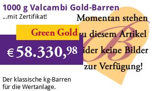Valcambi Gold-Barren 1000 g LBMA zertifiziert - Green Gold