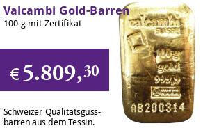 Valcambi Gold-Barren 100 g LBMA zertifiziert Gussbarren